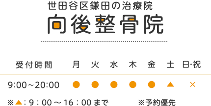 世田谷区鎌田の治療院 向後整骨院 受付時間 9:00~20:00 ※▲:9:00~16:00まで※予約優先